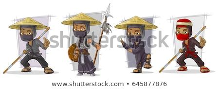 Nindzsa harcos dárda rajz stílus illusztráció Stock fotó © patrimonio