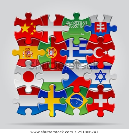 Japán Szaúd-Arábia zászlók puzzle vektor kép Stock fotó © Istanbul2009