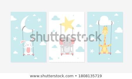 Aranyos zsiráf karakter baba szoba színes Stock fotó © lordalea