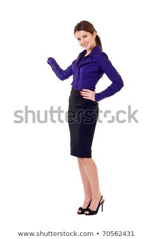 surpreendido · mulher · produto · abrir · mão - foto stock © fuzzbones0