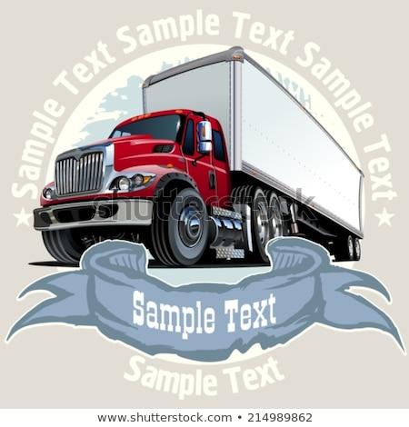 Foto stock: Vector Cartoon Cargo Semi Truck