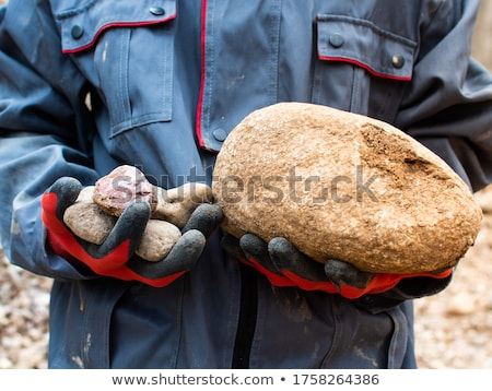 Female hands with textured silver mineral Stock photo © bezikus