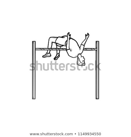 Hoogspringen icon krijt Blackboard Stockfoto © RAStudio
