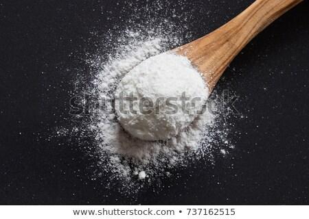 Cuchara de madera negro madera medicina pan blanco Foto stock © mady70