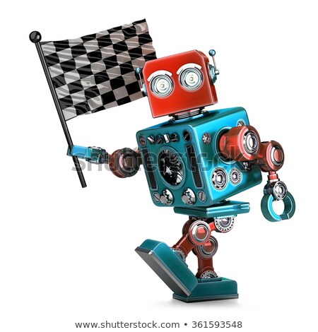 Stock photo: Vintage robot with checkered race flag. Isolated. Contains clipping path