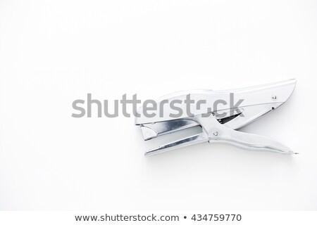 Gray metal stapler on white Stock photo © boroda