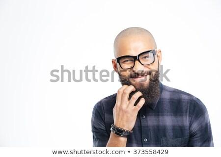 ストックフォト: ハンサム · アフリカ系アメリカ人 · 男 · 眼鏡 · あごひげ · クローズアップ
