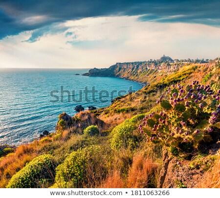Sicilya eski kale duvarlar uçurum İtalya Stok fotoğraf © Steffus
