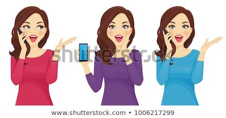 Stockfoto: Verwonderd · vrouw · praten · telefoon · geïsoleerd · witte