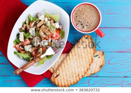 Fresh mixed feta salad and coffee on picnic table Stock photo © ozgur