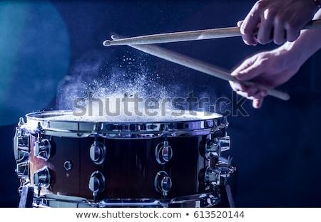zenész · játszik · dob · jóképű · fiatal · zene - stock fotó © deandrobot