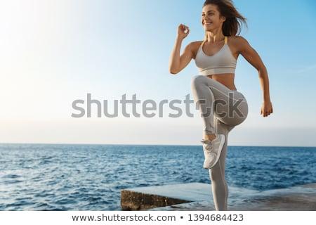Lächelnde Frau BH posiert sexy glücklich Haar Stock foto © deandrobot