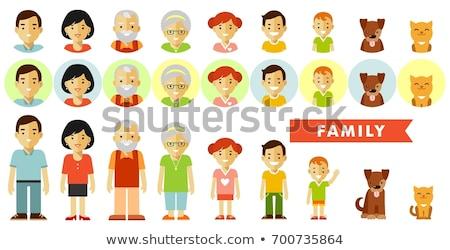 Family members avatars in flat style Stock photo © burtsevserge