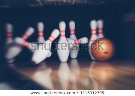 Bowling sikátor padló tükröződés jókedv fehér Stock fotó © photocreo