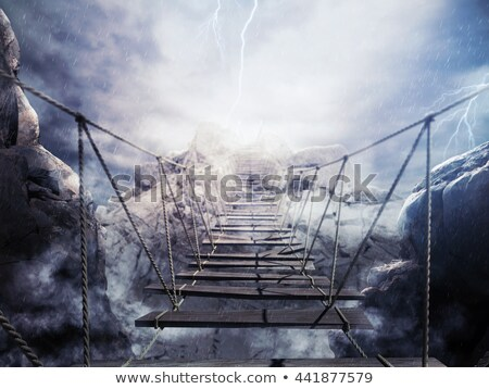 3D Rendering unstable bridge during a thunderstorm Stock photo © alphaspirit