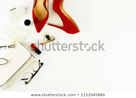 Pár piros magas sarok cipők rúzs izolált Stock fotó © Elisanth