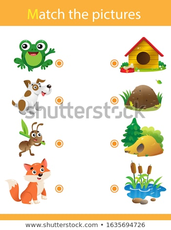 Matching spel sjabloon dieren illustratie school Stockfoto © bluering