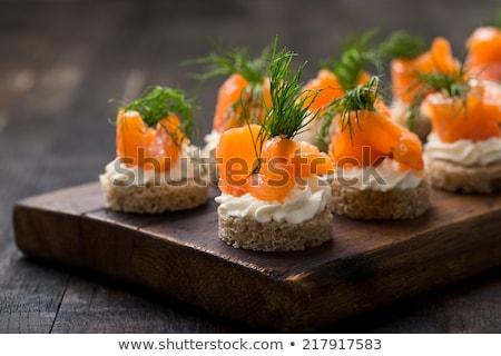 füstölz · lazac · tejföl · kaviár · előétel · krém · sajt - stock fotó © klinker