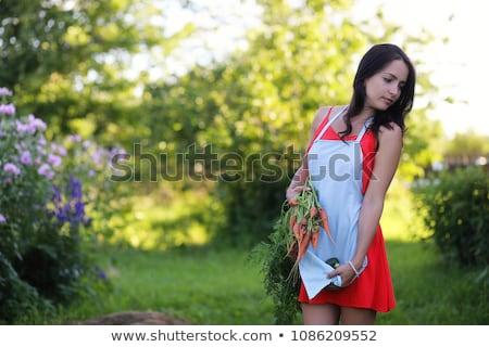 Dziewczynka rabarbar posiedzenia trawy gry rok Zdjęcia stock © Klinker