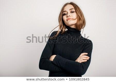 Negro cuello de tortuga aislado blanco moda modelo Foto stock © ozaiachin