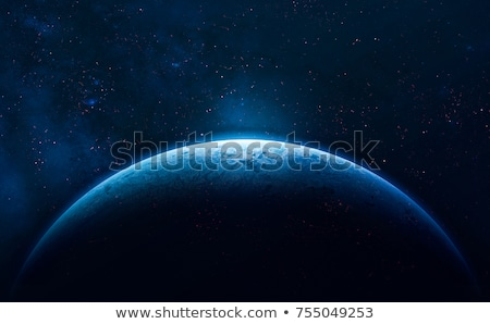 Planet Earth and Moon in the deep space 