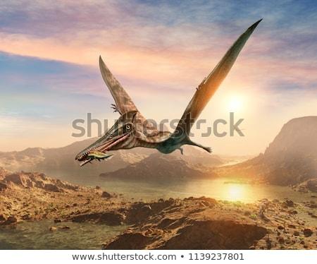 Scène dinosaurus bergen illustratie hemel landschap Stockfoto © bluering