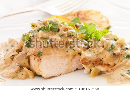 Poitrine de poulet champignons sauce alimentaire repas italien Photo stock © M-studio