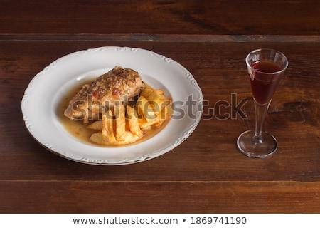стекла · коньяк · мяса · блюдо · камин - Сток-фото © kalinich24