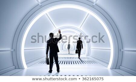 Férfi futurisztikus alagút fények fiú jövő Stock fotó © alphaspirit