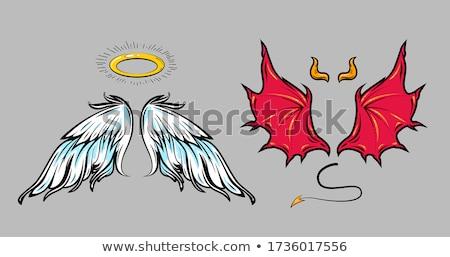 Angyalszárnyak ördög agancs illusztráció háttér művészet Stock fotó © bluering