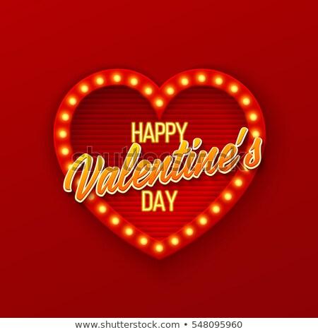 Stock fotó: Valentin · nap · nap · neon · szív · eps · 10