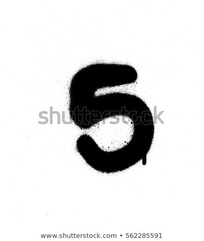 Graffiti aantal vijf zwart wit schrijven stijl Stockfoto © Melvin07