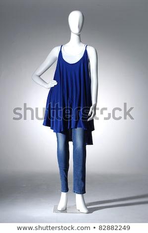 Luz azul vestir manequim belo feminino coquetel Foto stock © robuart