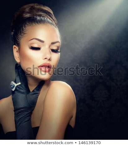 beautiful glamour woman with black gloves Stock photo © zdenkam