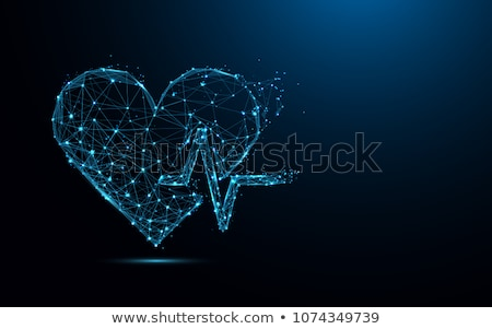 Cardiology health care symbols connected with heart beat rhythm Stock photo © Tefi