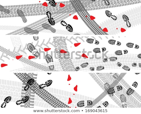 Horizontal illustration of shoe and tire prints. Stock photo © Vertyr