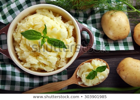 Photo stock: De · pomme · de · terre · blanche · table · en · bois · cuisine · table