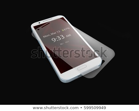 Screen protector film or glass cover isolated on balck background. Mobile accessory. 3d illustration Stock photo © tussik