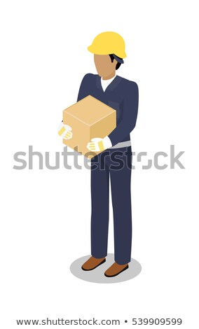 Cargo Handler in Yellow Helmet with Container Stock photo © robuart