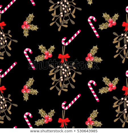 Foto stock: Xmas Kissing Bough Black Seamless Vector Pattern