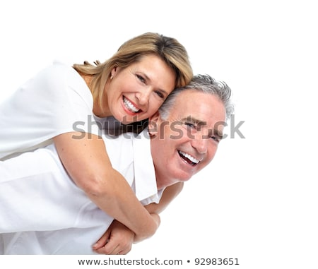 happy smiling couple in love isolated over white stock photo © julenochek