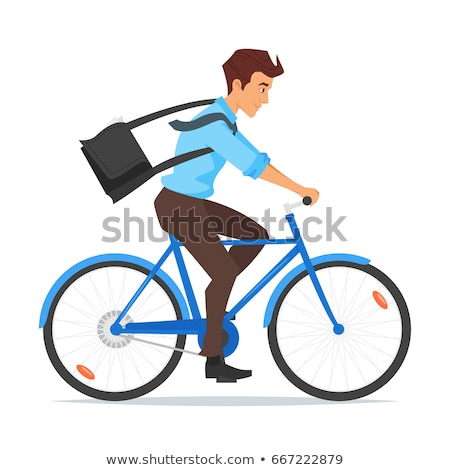 businessman riding on the bike and hurrying to work. Stock photo © curiosity