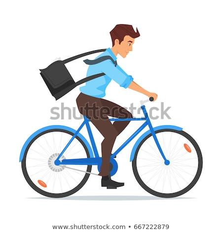 üzletember · lovaglás · bicikli · város · ázsiai · munka - stock fotó © curiosity