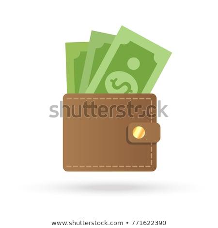 portefeuille · trésorerie · isométrique · brun · plein · argent - photo stock © biv