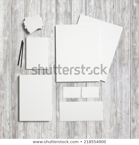 Mock-up business template with cards, papers, pen. Gray background. Stock photo © master1305