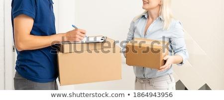 corriere · pacchetto · appunti · uomo · felice - foto d'archivio © monkey_business