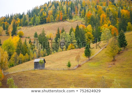 Stockfoto: Autumn Landscape With Haystacks And Fog In The Mountains