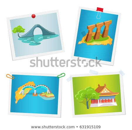 Taiwanese Attractions on Images Attached to Wall Stock photo © robuart