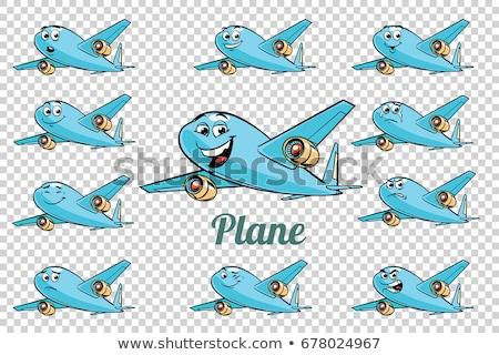 klasszikus · kék · repülőgép · illusztráció · fehér · légy - stock fotó © rogistok