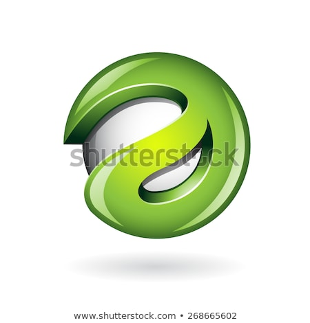 round glossy letter e 3d green logo icon stock photo © cidepix